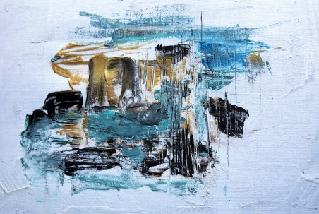 Optimal skin pro cleanser granules (ESPA), teal, gold and black acrylic abstract painting by Earth Shine Decor Arts